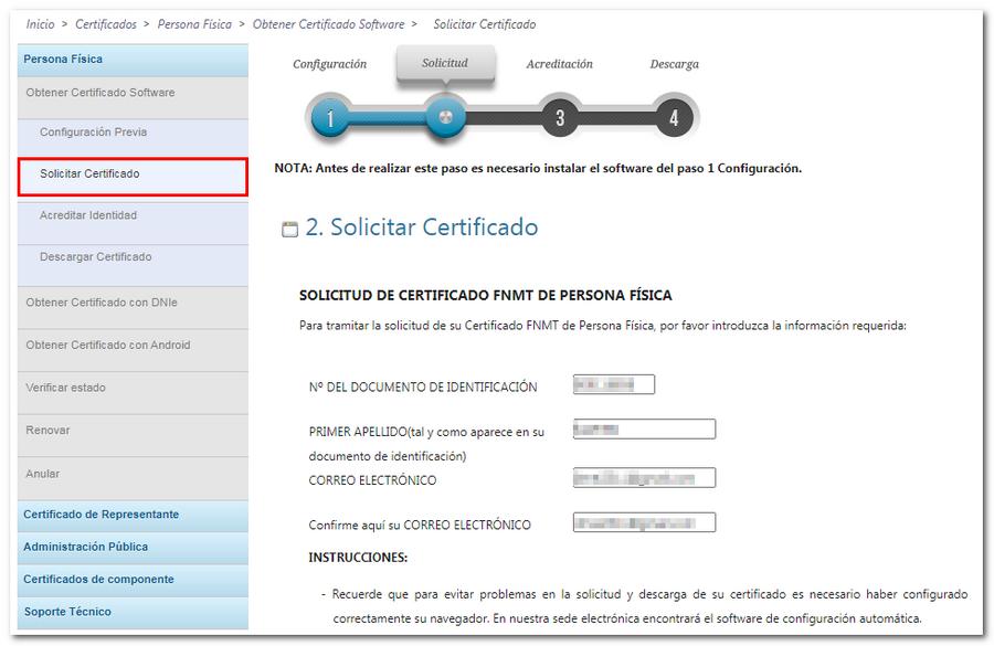 Solicitar Certificado