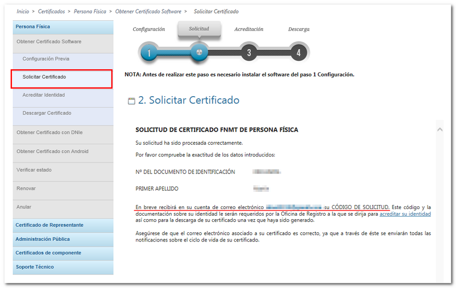 página respuesta solicitud código certificado FNMT