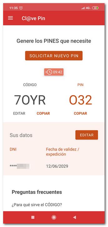 código y pin en la app