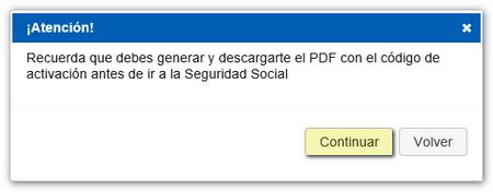 Aviso generación PDF