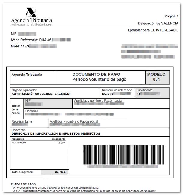 Imprimir carta de pago - Agencia Tributaria