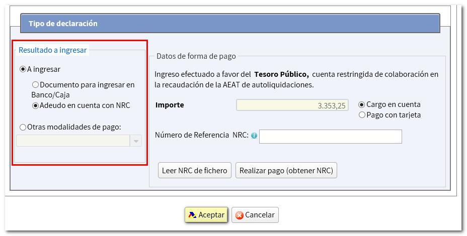 Presentación con NRC y otras formas de pago