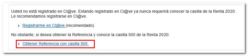 No registrado en Cl@ve. Obtener referencia