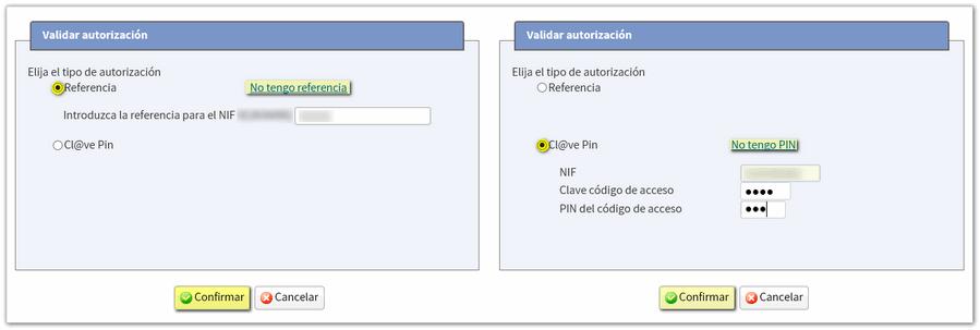 Identificación con referencia o Cl@ve