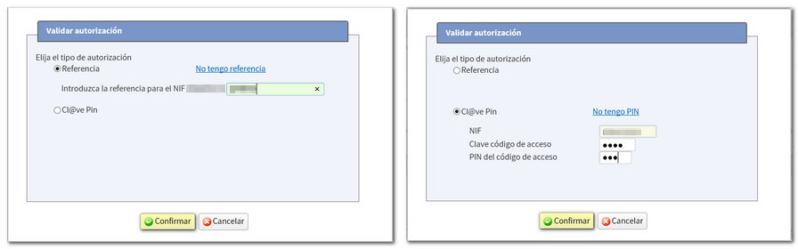 Imagen de validar autorización con Referencia o con Cl@ve PIN