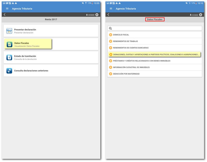 datos fiscales en la app