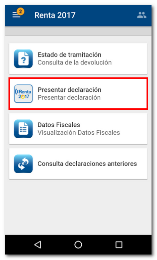 presentar declaración desde la app